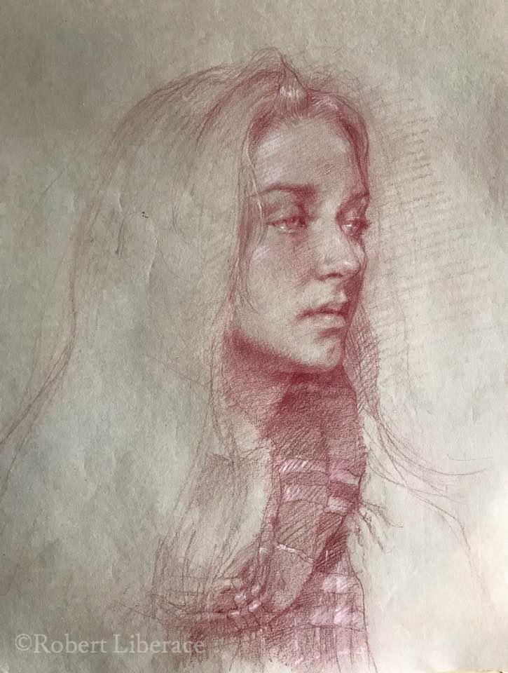 Robert Liberace woman in red chalk