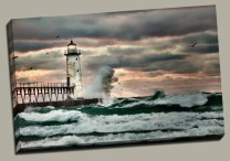 Manistee, MI - Lighthouse and Pier - Storm - Robert Mohr Photography
