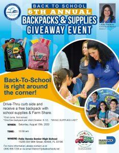 District 7 Backpacks & Supplies Giveaway @ Felix Varela Senior High | Miami | Florida | United States