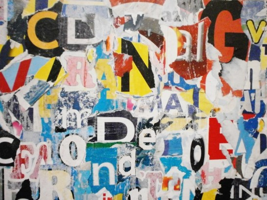 """""""LOST WORDS"""" COLLAGE BY ROBERTO ALBORGHETTI - CREATED WITH 400 PIECES OF WASTE-PAPER FROM TORN PUBLICITY POSTERS"""