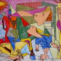 """IMPRESSIVE AND MOVING """"PICASSO'S GUERNICA"""" IN THE COLORFUL DRAWINGS MADE BY ITALIAN KIDS"""