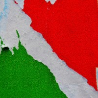 ITALIAN FLAG AS SEEN ON A PUBLICITY BILLBOARD: VISUAL ART FOR THE ITALIAN REPUBLIC HOLIDAY