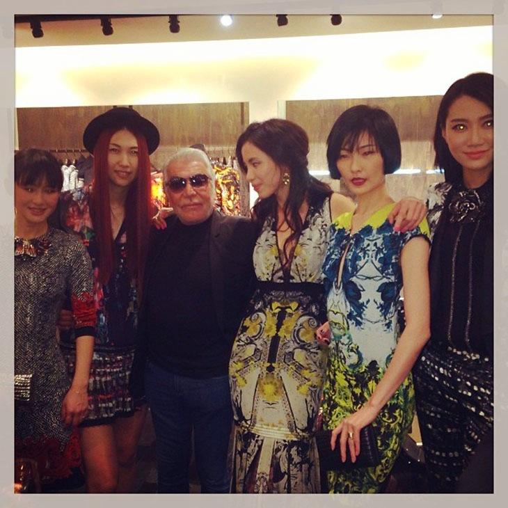 Roberto Cavalli with models in Beijing