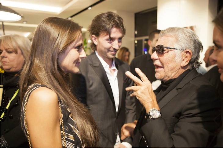 Cristina De Pin and Riccardo Montolivo with Roberto Cavalli