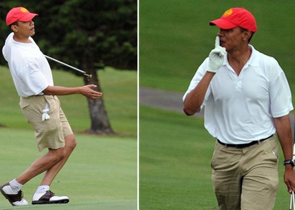 Obama aproveita férias para jogar golfe. Ao público, ele pediu silêncio para não atrapalhar a concentração numa tacada