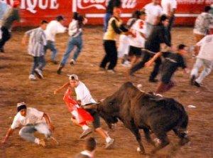 Varios de los toreros improvisados se llevaron más de un susto tratando de esquivar los cuernos del toro.
