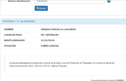 Nuevo Directivo del BCR L.D Vargas Chinchilla, adeuda ₵10.5 millones a la CCSS.