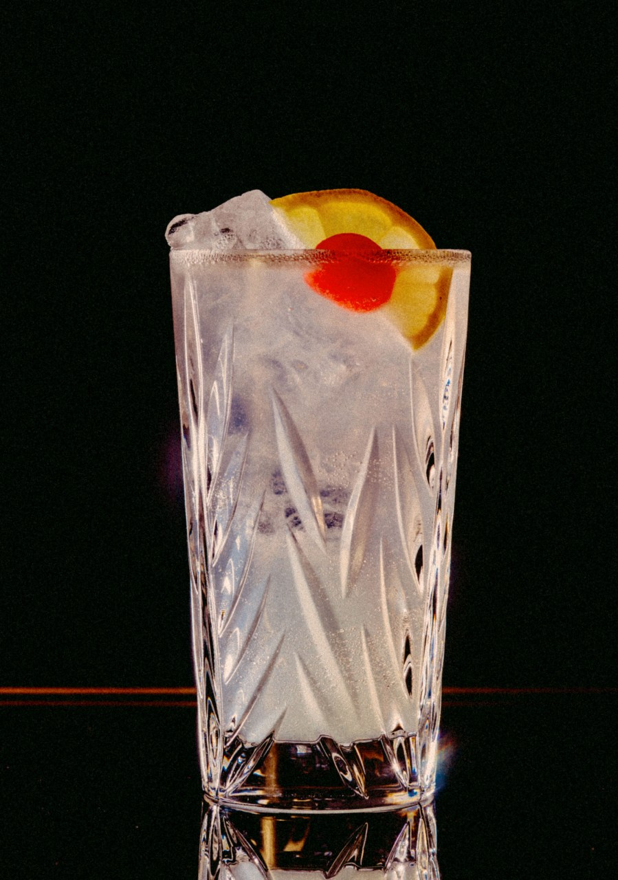 Recipe: 5cl Plymouth Gin 3cl Lemon Juice 2cl Sugar Syrup Filled with Soda
