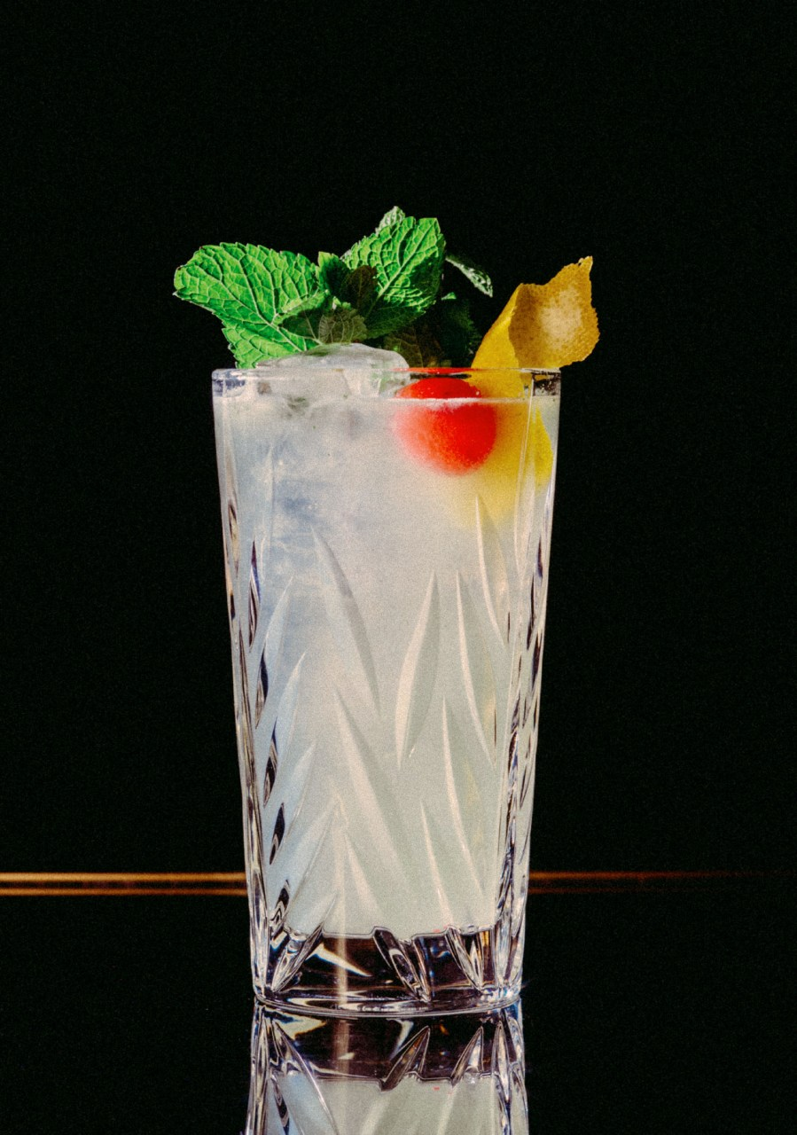 Recipe: 5cl Plymouth Gin 3cl Lime Juice 2cl Sugar Syrup Mint Leaves Filled with Soda