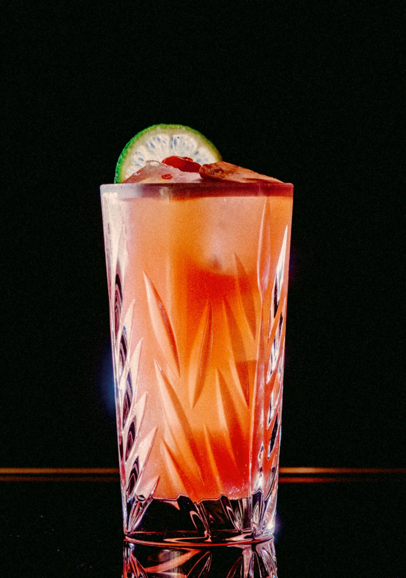 Recipe: 4.5cl Mezcal infused with Lime Leaves, Chipotle and Thai Chilies 2cl Lime Juice 1.5cl Chambord 1cl Sugar Syrup 6cl Pineapple Juice