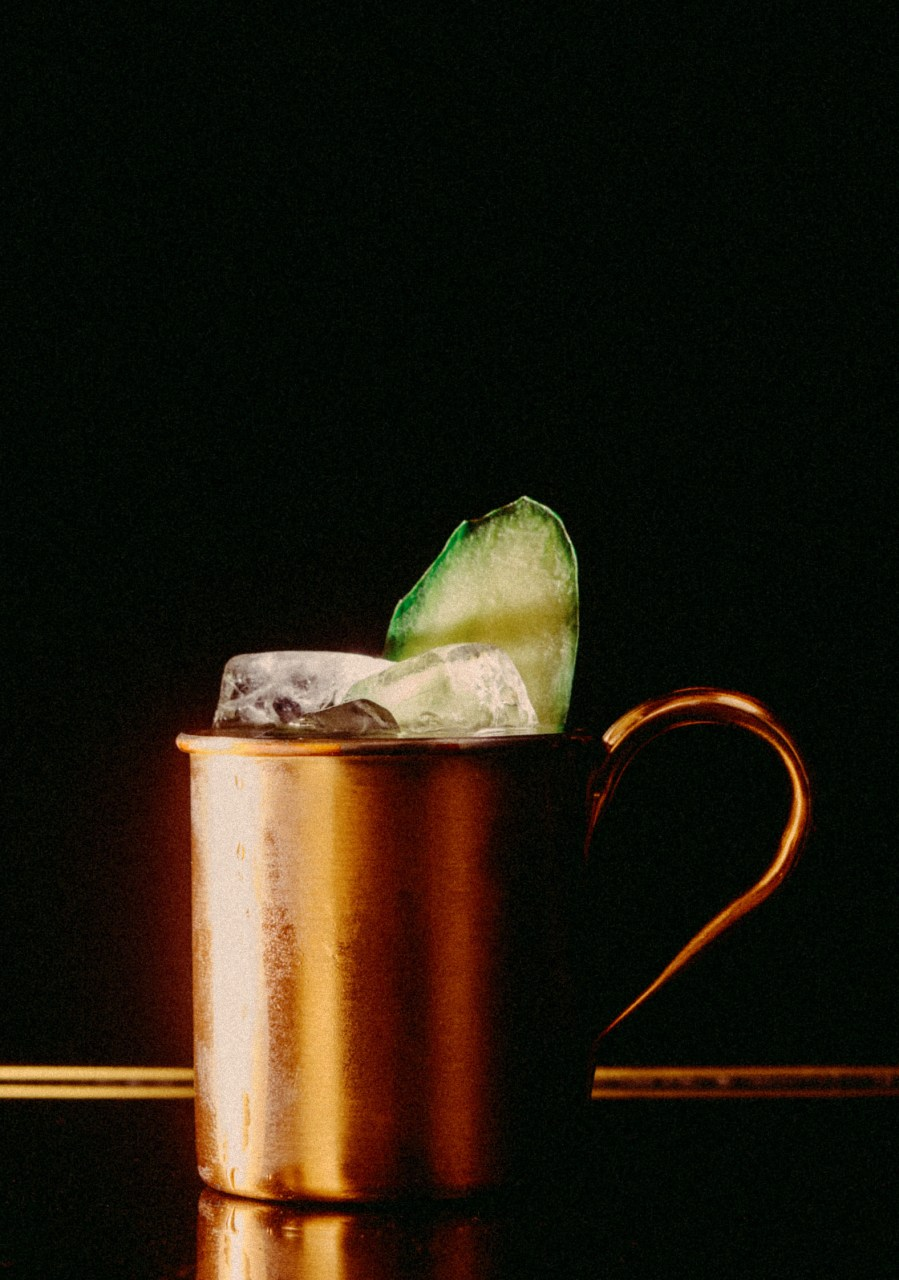 Recipe: 4cl Russian Standard Vodka 0.5cl Lime Juice Filled with Schweppes Ginger Beer Cucumber
