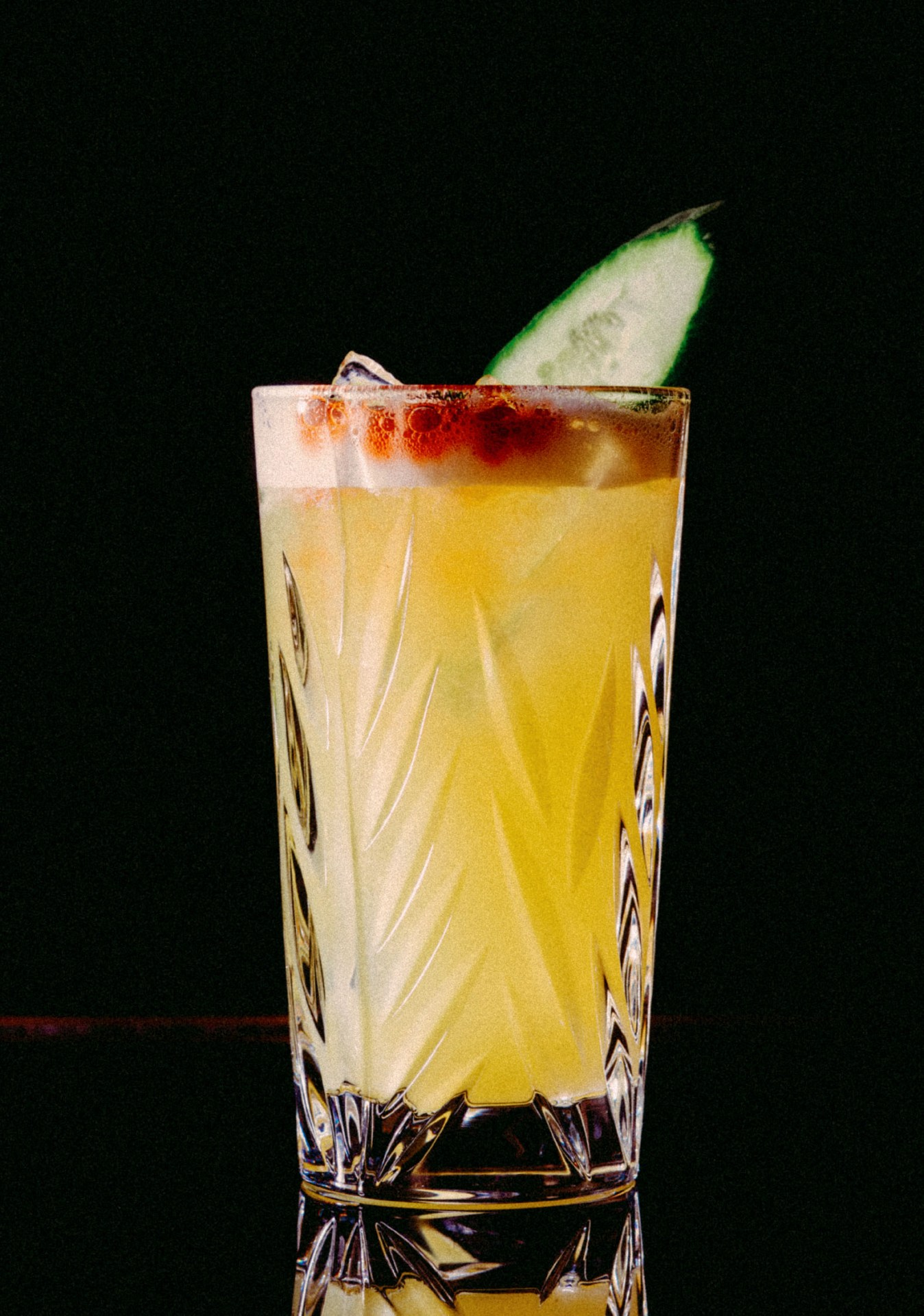 Recipe: 4cl Russian Standard Vodka 2cl Lime Juice 1.5cl Orgeat Syrup 8cl Pineapple Juice 2 Dashes Angostura Bitters Cucumber