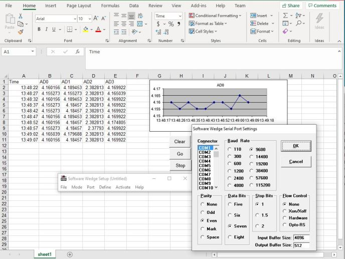 Live data and WinWedgePro turn Excel into a Excel temperature measurement system