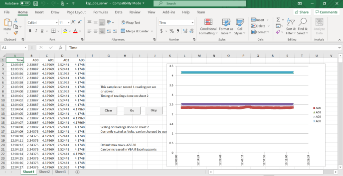 Once an input is available in KEPServerEx, and communicating, it is available to be added to a linking application such as Excel.