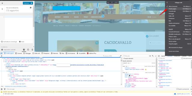 wordpress aspetto modifica css strumenti sviluppo firefox