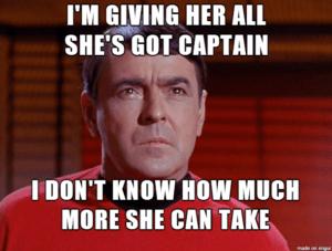 January 12 – I'm Giving Her All She's Got Captain