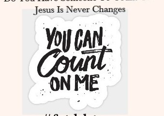 May 5 – I Hope You Can Count On Me