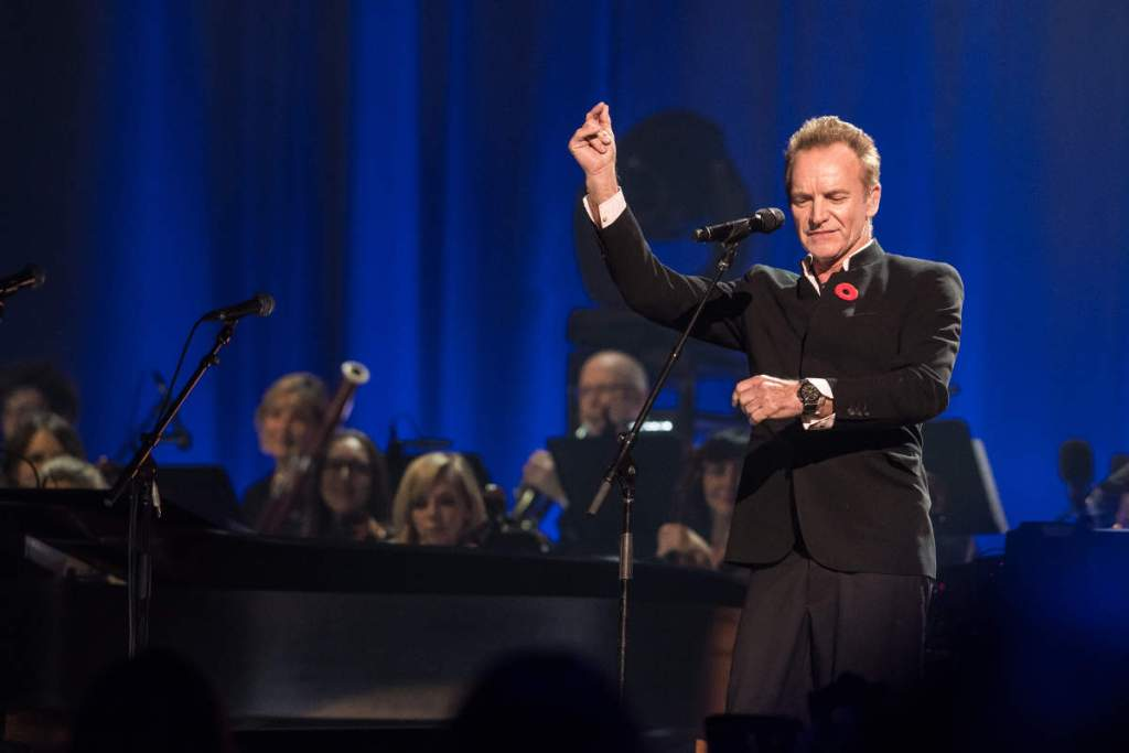 Sting performing at the Leonard Cohen memorial concert in Montreal, November 6, 2017. (Claude Dufresne)