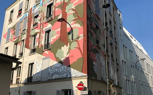 Close-up of a wall mural on the Rue du Retrait shown on an Arternative tour. (Robert Sarner/ Times of Israel)