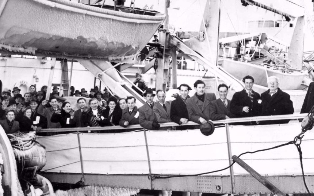 Illustrative: Jewish immigrants from displaced persons camps arrive in Halifax, Nova Scotia from Braemanhaven, Germany on The General Sturgis on February 6, 1948. Many of the individuals pictured eventually settled in Montreal. (Courtesy Ontario Jewish Archives)