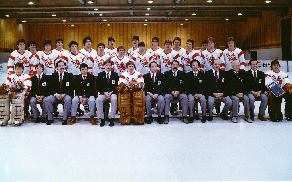 The 1983 Canadian national junior hockey team that competed in the world championship in then-Leningrad. Sherwood Bassin is seated front row center, to the right of the goalie.