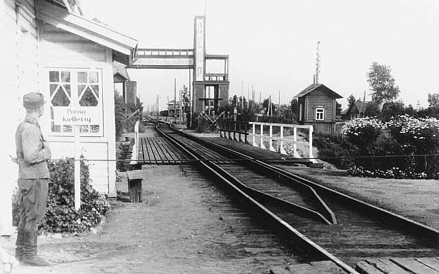 Illustrative: A 1939 photo of the bridge over the Rajajoki River, on the Finnish-Russian frontier, which carried the single track of the railway to Leningrad.