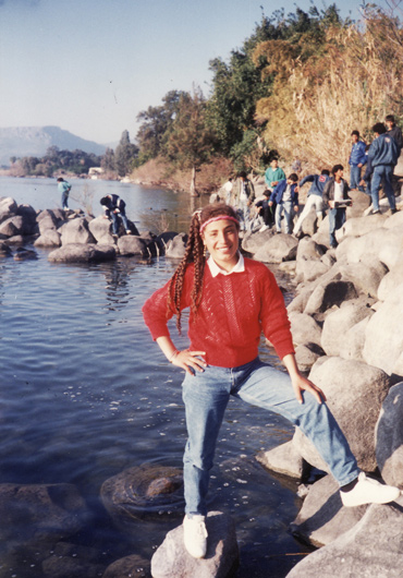 Amal Elsana-Alh'jooj at the Sea of Galilee during a high school trip at age 16.