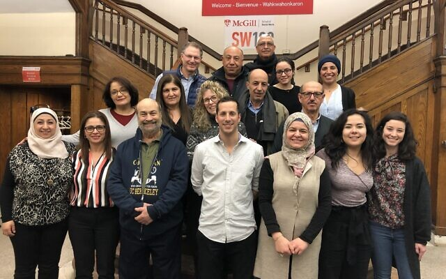 Amal Elsana-Alh'jooj, top row far-right, with the ICAN management committee and fellows, including two Jewish-Israeli and two Muslim-Israeli fellows, in Montreal, February 2019.