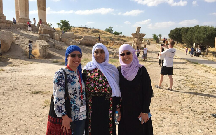 Amal Elsana-Alh'jooj, left, with her mother and sister.