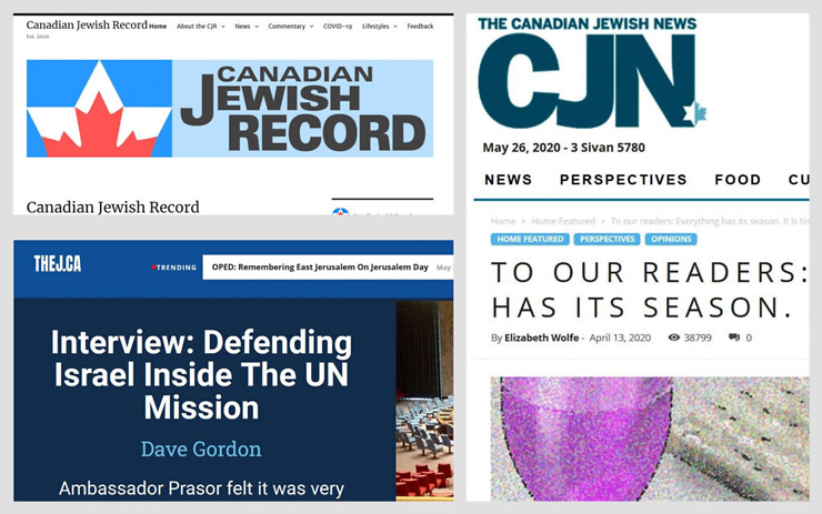 From top left: Screenshots of The Canadian Jewish Record, The Canadian Jewish News, and TheJ.ca.