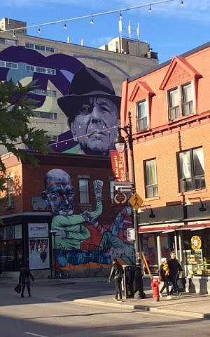 A nine-story mural of Leonard Cohen in Montreal. (Robert Sarner/Times of Israel)