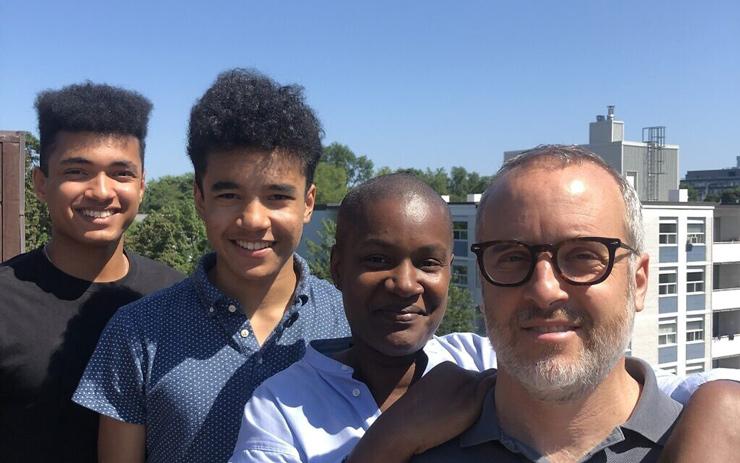 Annamie Paul with husband Mark Freeman, right, and sons Jonas Freeman (center left) and Malachai Freeman (left) in 2020. (Courtesy)