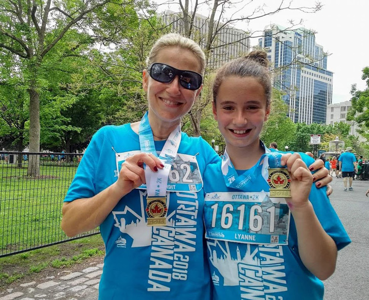 PHOTO - Vardit with daughter, Lyanne, after running in Ottawa Marathon in May 2019
