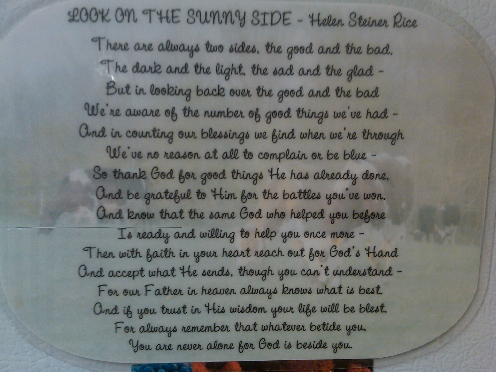 LOOK ON THE SUNNY SIDE By Helen Steiner Rice Roberts