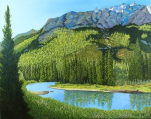 Oil painting of Cascade Canyon, with Teton mountain range rising above it in morning light.