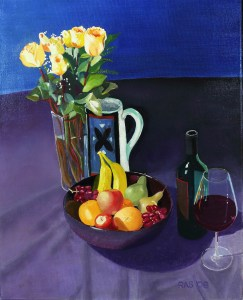 Oil painting still life, consisting of yellow roses, a water pitcher, wine, and fruit in a black bowl.