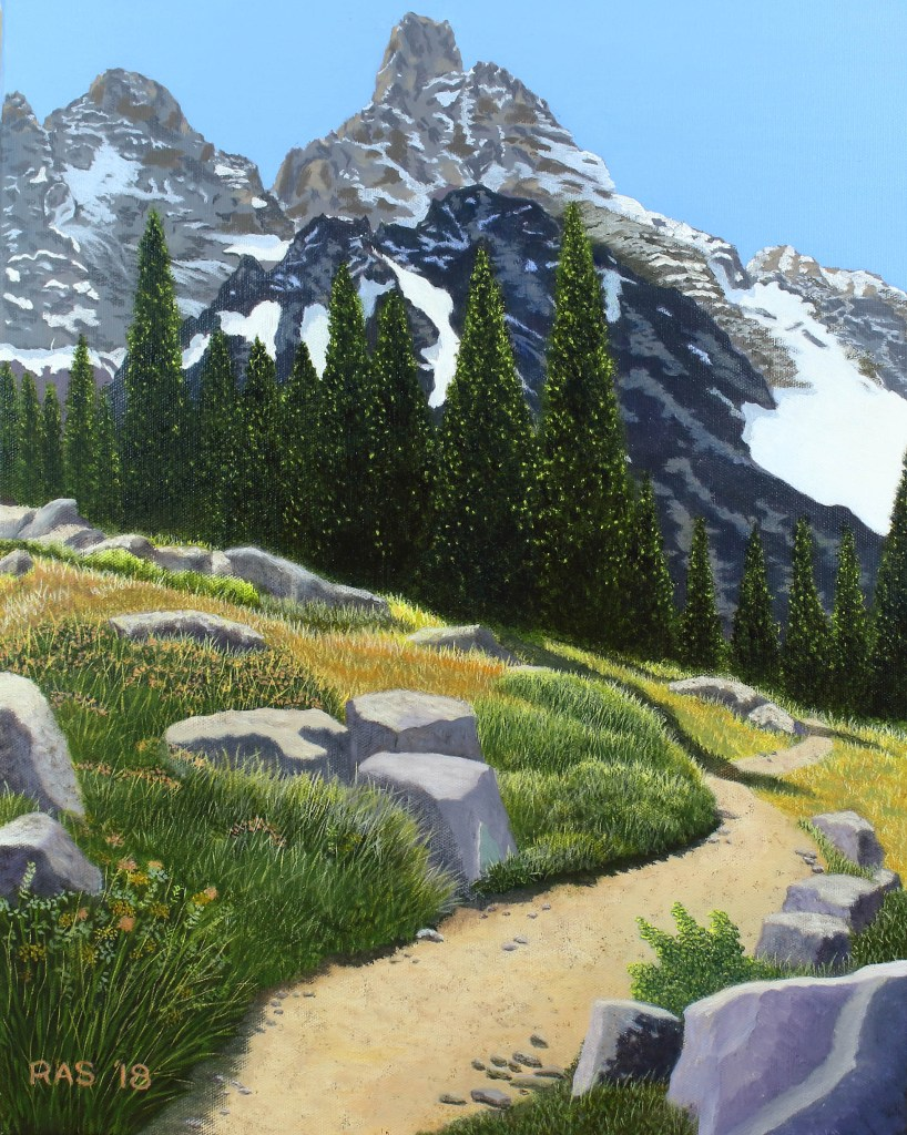 Oil painting of snow-capped Grand Teton mountain, from viewpoint of hiking trail surrounded by boulders, wildflowers, and evergreens..