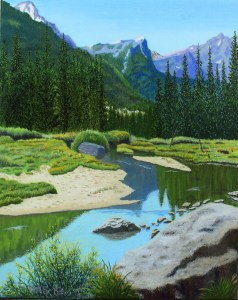 Oil painting of Cascade Creek with its shoreline of boulders, evergreens, and wildflowers and snow-capped Teton mountain range in distance.