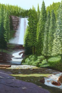 Oil painting of Victoria Falls at Glacier National Park, with clouds of spray surrounding falls as well as massive evergreen forest.