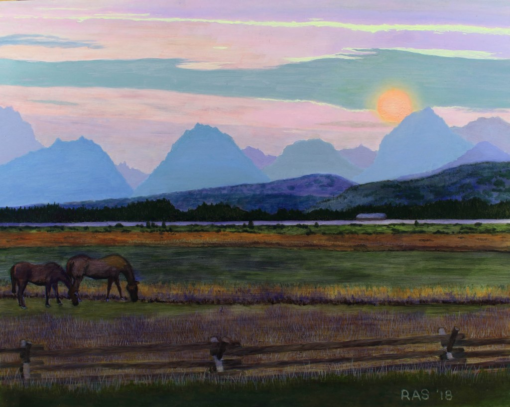 Oil painting of Teton mountain range at sunset with grazing horses silhouetted in foreground.