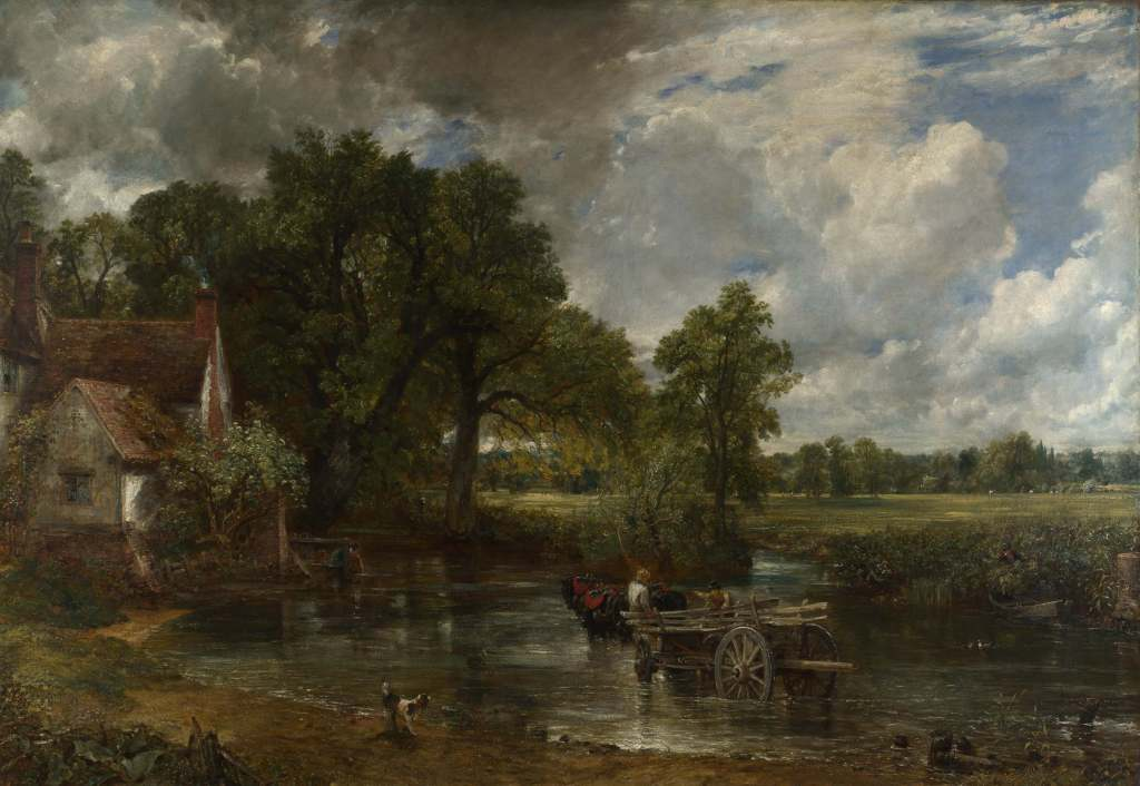 Canvas painting of farmhand crossing stream with horse and haywagon with beautiful countryside in distance. Landscape art revealing Constable's attention to detail.