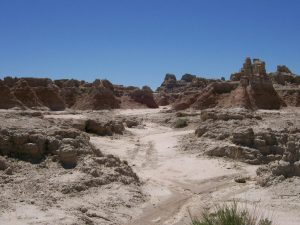 Dry riverbed in the Badlands