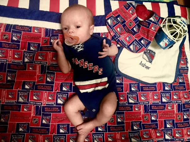 Asher is ready for the start of hockey season. Let's go Rangers!