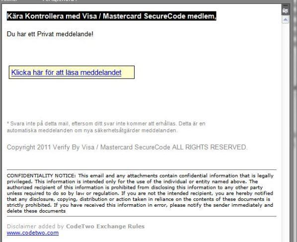 Phising attack via mail för att komma åt Visa kunder