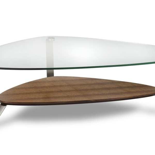 Dino 1343 Modern Glass Coffee Table | BDI Furniture Walnut