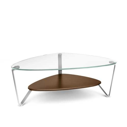 Dino 1344 Small Modern Glass Coffee Table | BDI Furniture Chocolate