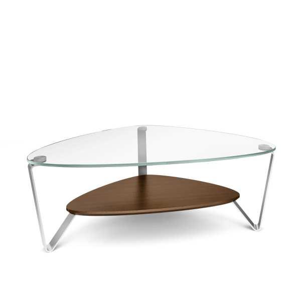 Dino 1344 Small Modern Glass Coffee Table | BDI Furniture Chocolate