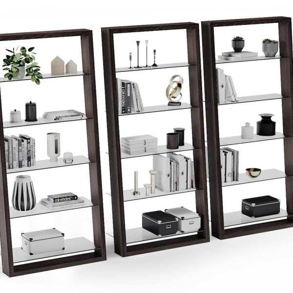 Eileen 5156 Modern Leaning Glass Shelf   BDI Furniture Charcoal Ash 3