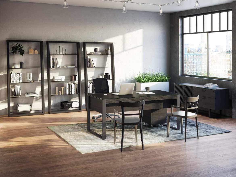 Eileen 5156 Modern Leaning Glass Shelf | BDI Furniture Charcoal Ash Living
