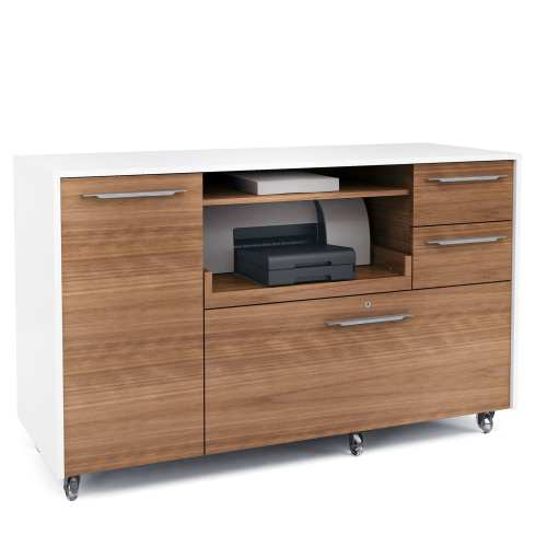 Format 6320 Multifunction Office Cabinet | BDI Furniture Natural Walnut